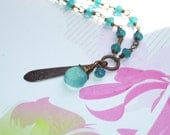 Iridescent Blue Chalcedony Briolette & Brass Etched Drop Charm Necklace - Bright Turquoise Aqua Wedding Gift Summer