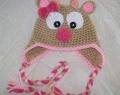 Diva Reindeer Earflap  Hat/Beanie- Customized Boy or Girl -Preemie-4T cbbcreations /Photo Prop