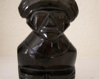 Vintage, Hawaiian Carved Obsidian Stone Polynesian God Sculpture, Nanas Vintage Shop on Etsy
