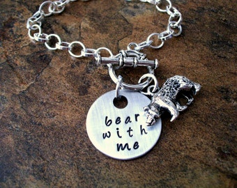 Personalized Jewelry, Bear Jewelry, Bear Bracelet, Bear Charm Bracelet, Hand Stamped Jewelry, Bear With Me