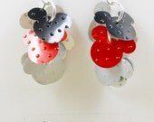 HIDDEN Mickey Mouse Earrings.  Recycled Soda Can Art.   Coca Cola. Cluster Earrings. Dangle & Drop Earrings.