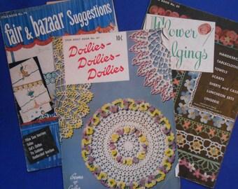 Doilies, Doilies, Doilies, Flower Edgings, Fair and Bazaar Suggestions, Three Vintage Craft Books, 1950s