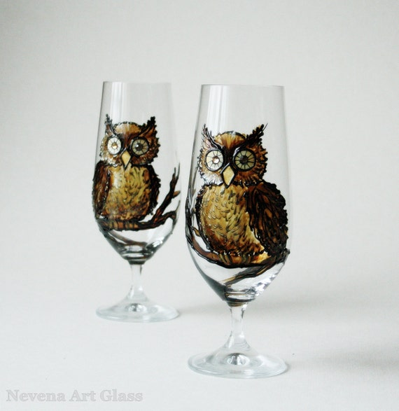 Hand Painted Glasses,Owls Glasses, Beer Juse Glasses,  Set of 2