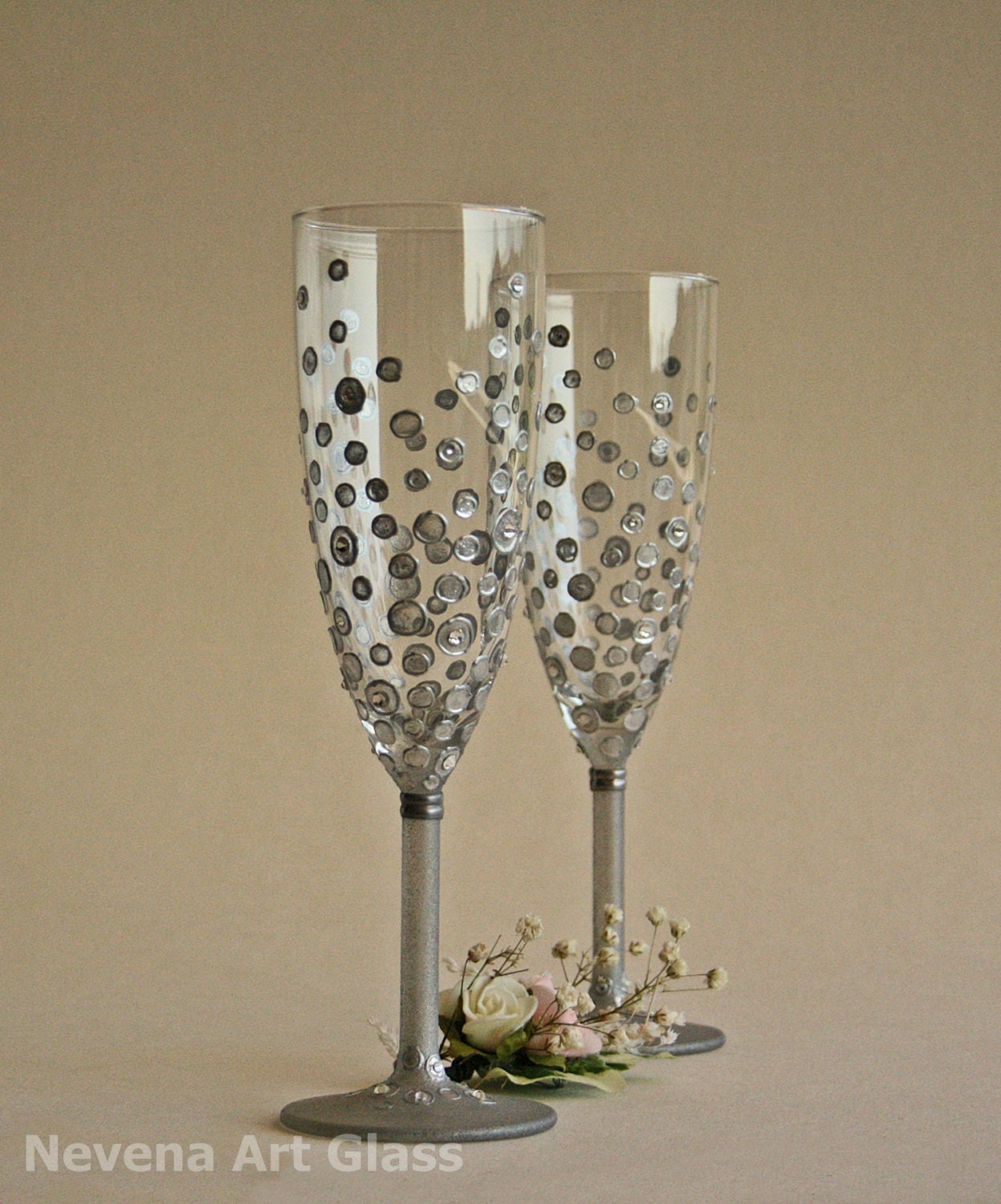 personalized wedding toasting glasses hand painted silver