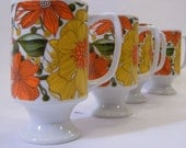 Vintage Coffee Mugs Retro Flowers Set of Four Orange and Yellow Goodwood Made In Japan