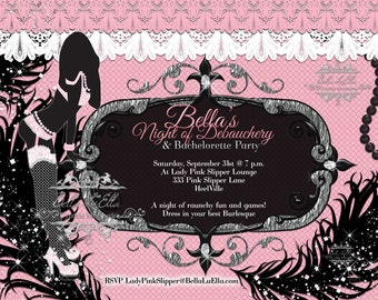 Bachelorette Party Invitation, Bachelorette Burlesque Invitations, Lingerie Shower Invitations