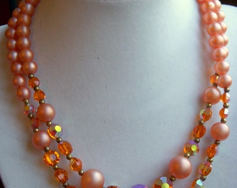 Peach Double Strand Necklace