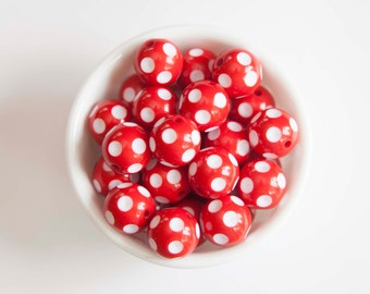 Red Polka Dot 20mm Chunky Acrylic Beads 10 ct for Bubblegum Necklace