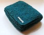 Scarf in Turquoise Aran Tweed Wool