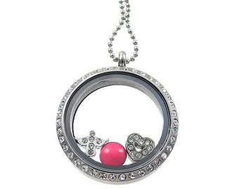 Choose 3 Charms / Floating Locket / New Mommy Necklace / Charm Locket