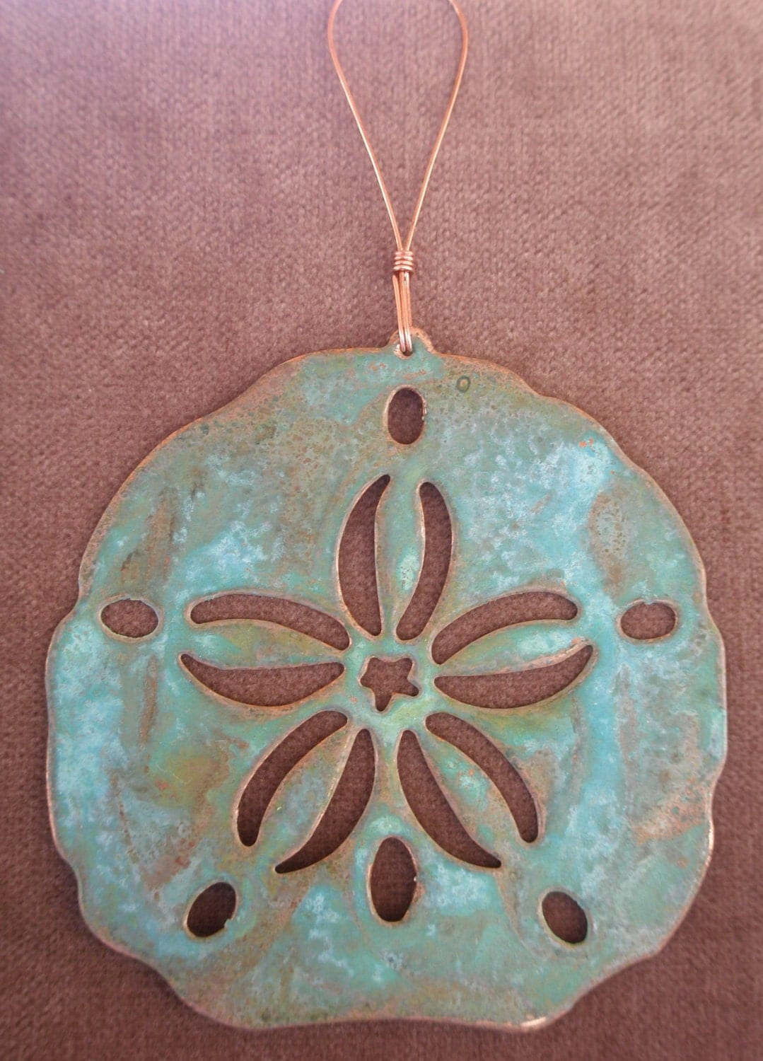 SAND DOLLAR Copper Verdigris Ornament - Handcrafted in The Copper State (Arizona USA)