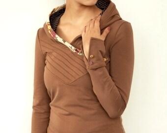 jersey hoodie - brown - flowers - polka dots