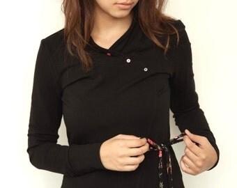 black jersey shirt - buttons - longsleeve