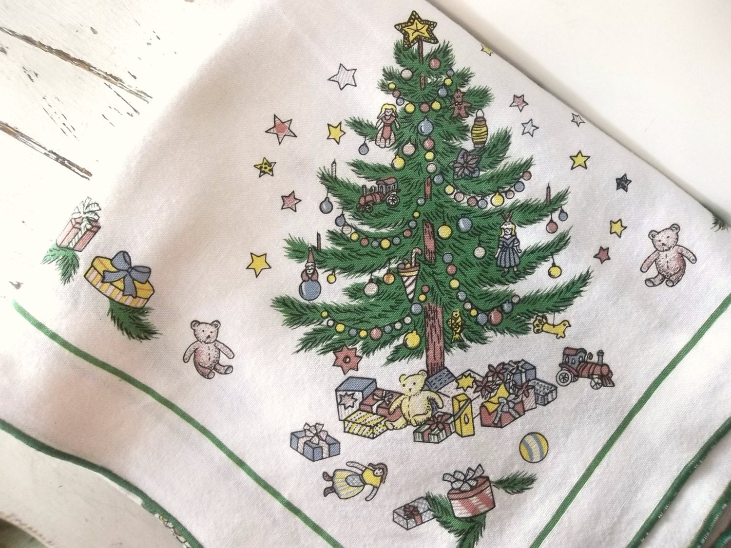 Vintage Christmas Holiday Table Linen Cloth By Shabbypeonie