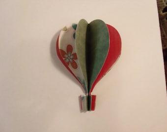 3d Paper Hot Air Balloon -  flowers, red, green