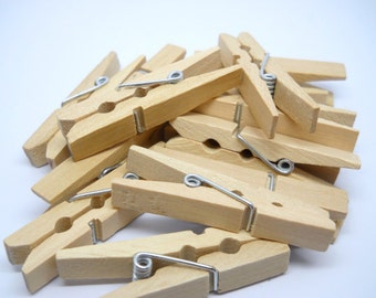 Mini Clothespins - 1 3/4 inches - Qty 24 - Wood Clothespin - Natural wood Clothespin
