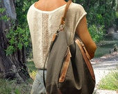 Canvas-linen women, shoulder,messenger,everyday ,ipad bag, in greybrown  with leather details,named Vera MADE TO ORDER