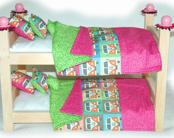 Double Doll Bunk Bed - Peace Bus American Made Girl Doll Bunk Bed - Fits 18 inch dolls and AG dolls