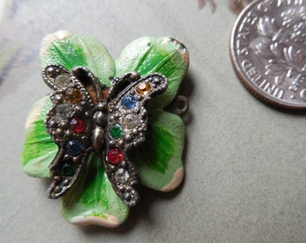 Antique Enamel Butterfly Perfume Pin or Brooch