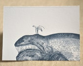 Wishing You a Whale of a New Year. (a whale of a new year's greeting in a single letterpress printed card & envelope)