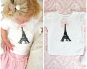 Baby Girl and Girl's Birthday Outfit Screen Printed Eiffel Tower Tee / T-Shirt.  Coming Home Outfit, Big Sister, Little, Wedding Flower Girl