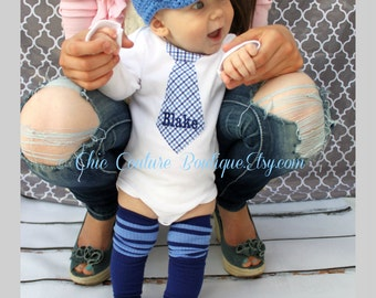 Easter Spring Baby Boy Tie Onesie, Birthday Outfit Personalized Tie Bodysuit Leg Warmers Set. Coming Home Outfit, Plaid Cake Smash Valentine