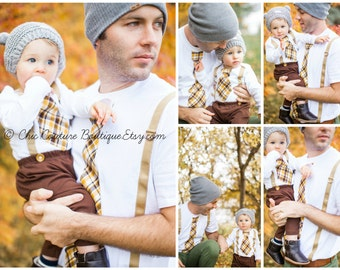 Father's Day Tie and Suspenders Dad & Boy T-shirt Set. Father Son. Plaid Tan Mustard Yellow Brown.  Matching Gift Set Men's Tshirt