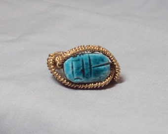 Egyptian good luck stone wire wrap ring turquoise gold size 7