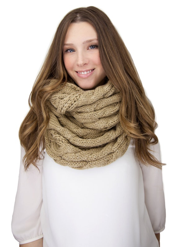 Camel Cable Knit Infinity Knit Scarf Cable Knit Infinity