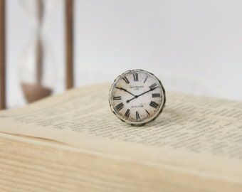 Retro Style Clock Face Ring, Polymer Clay, Antique Bronze Ring