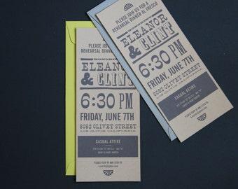 Save the Date / Wedding Invitation / Casual / Rehearsal Dinner / Wood Type / Modern / Letterpress / SAMPLE