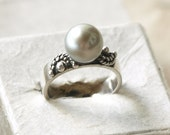 Tribal Pearl Engagement Ring, South Sea Pearl, Sterling Silver Ring, Boho Pearl Ring