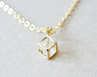 Gold Cube Frame Necklace with Floating Diamond Inside
