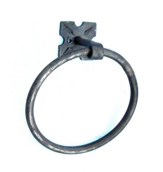 Hand Forged Iron Rosette Base Towel Ring by VinTin