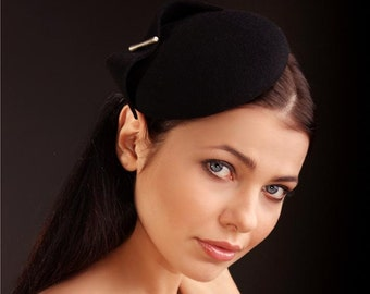 MIDI Hat-Button-Black-Wool Felt