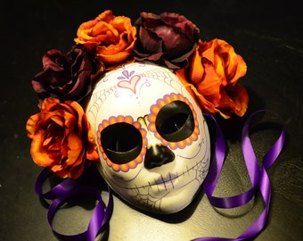 Fall for you - Day of the Dead Mask Traditional sugar Skull Heart and Rose Crown Dia De los Muertos Katrina halloween mask