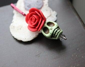 Sugar Skull and Rose Zipper Pull Pendant