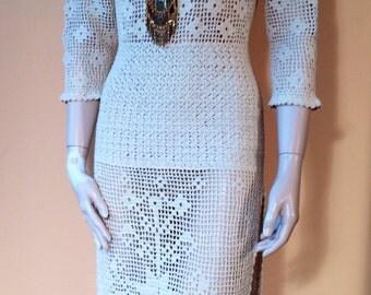 Vintage 70s CROCHET Open Back Bohemian Dress S M