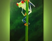 Tree Frog - Peek-A-Boo-24 x 48, acrylic on canvas, ready to hang, by Michael H. Prosper