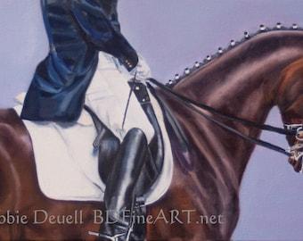 Forward!  Dressage Oringinal Oil Painting  12 x 24