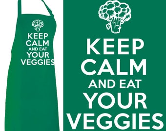 Keep Calm and Eat Your Veggies Apron  - FREE Shipping - Vegetarian Vegan Primal Paleo Diet Chef Cook Carry On Motivational Poster Meme Retro