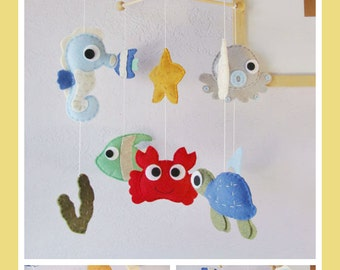 Popular items for felt animals mobile on etsy for Sea animal baby mobile