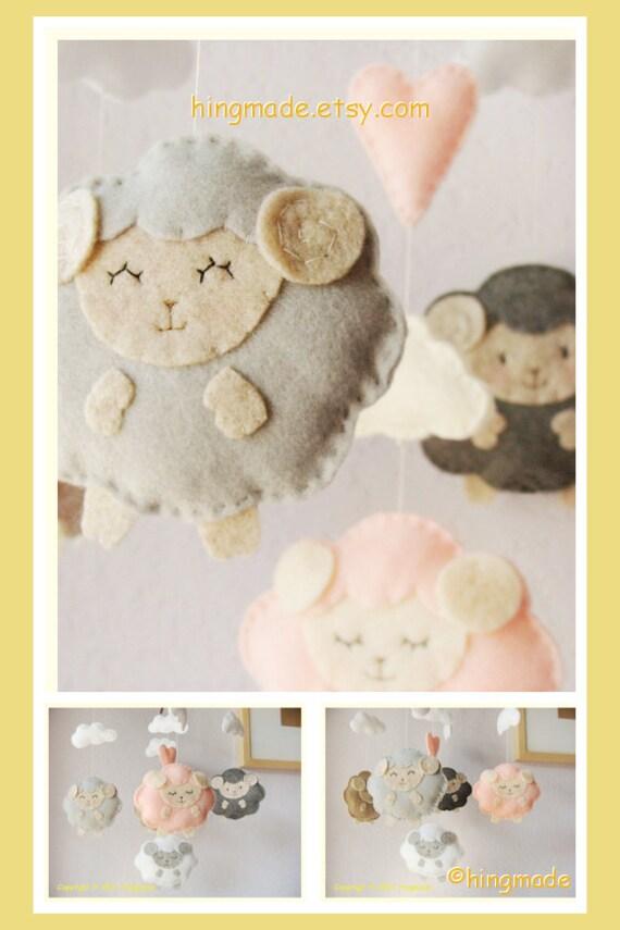 Sleepy Sheep Mobile Baby Crib Mobile Nursery Mobile By