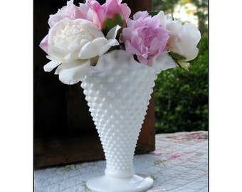 Milk Glass Hobnail Vase by Fenton  / Milk Glass Wedding Centerpiece /
