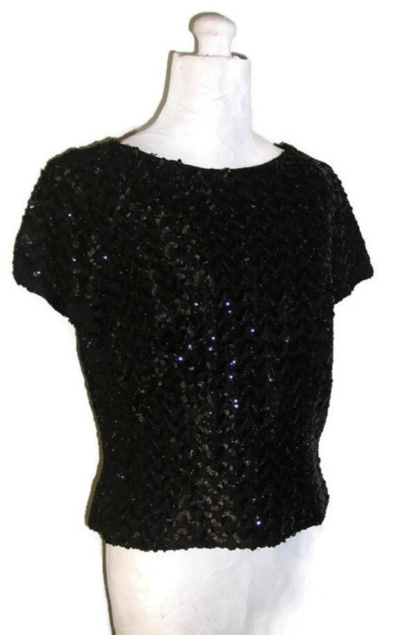 """Vintage 1960's Black Sequin Shell Style Blouse, Unique Back Zip Evening Top, Glamorous Sequin T-shirt, Bust 39"""" (99.1cm), Free US Shipping"""