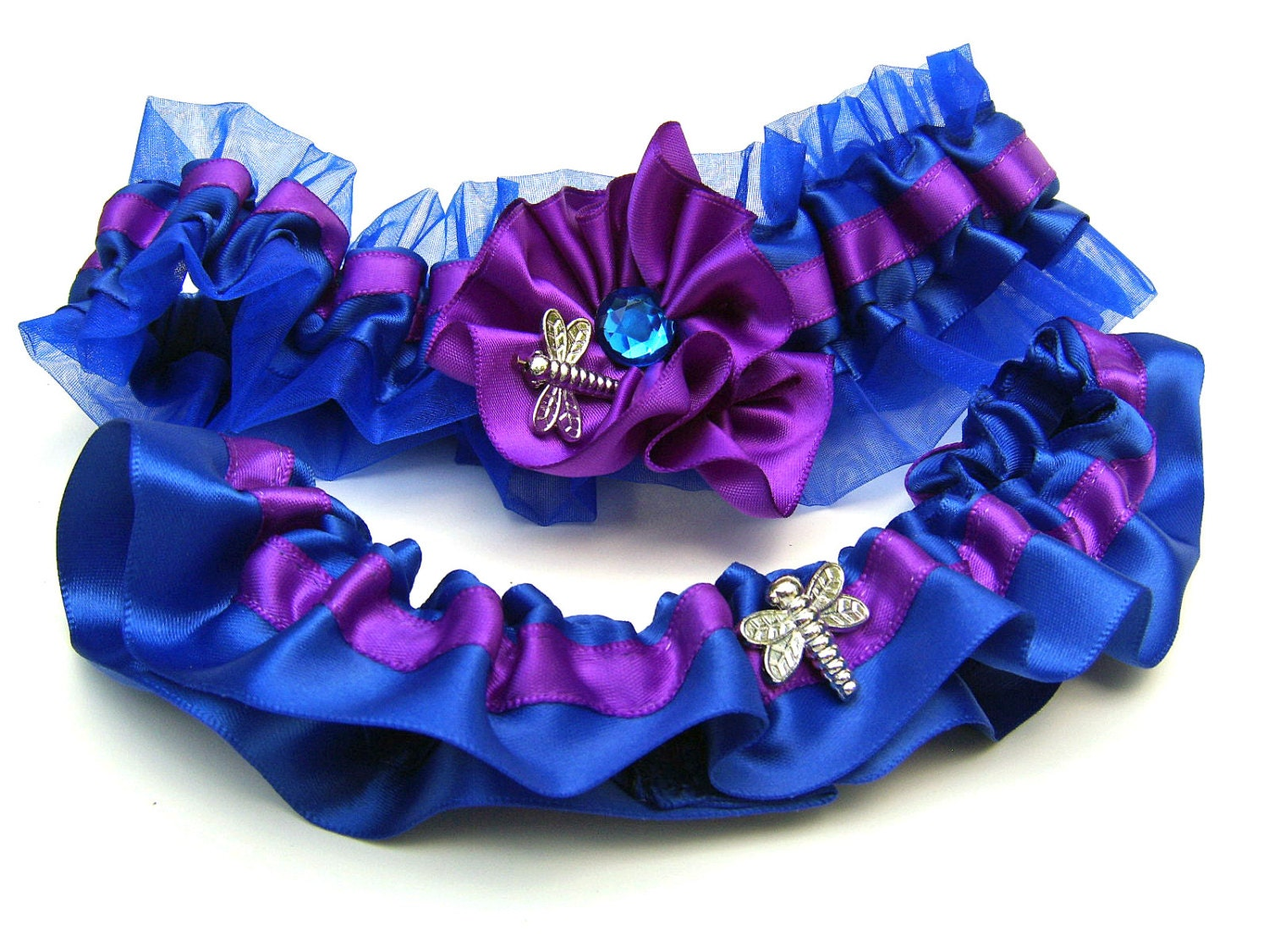 Royal Blue And Purple Wedding Garter Set With By StylishBride