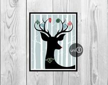 Deer Christmas Printable Wall Art, Antler Ornaments, 8x10 INSTANT DOWNLOAD