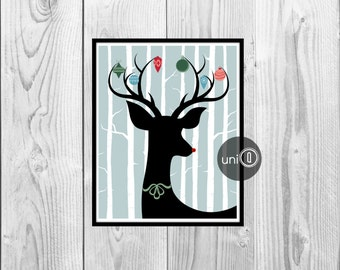 Deer Christmas Printable Wall Art, Antler Ornaments, 8x10 INSTANT DOWNLOAD