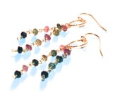 SALE: Tourmaline and gold dangling Earrings - Birthdays, Anniversary,  Graduation- fast ship