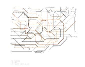 8x10 Tokyo Subway Map